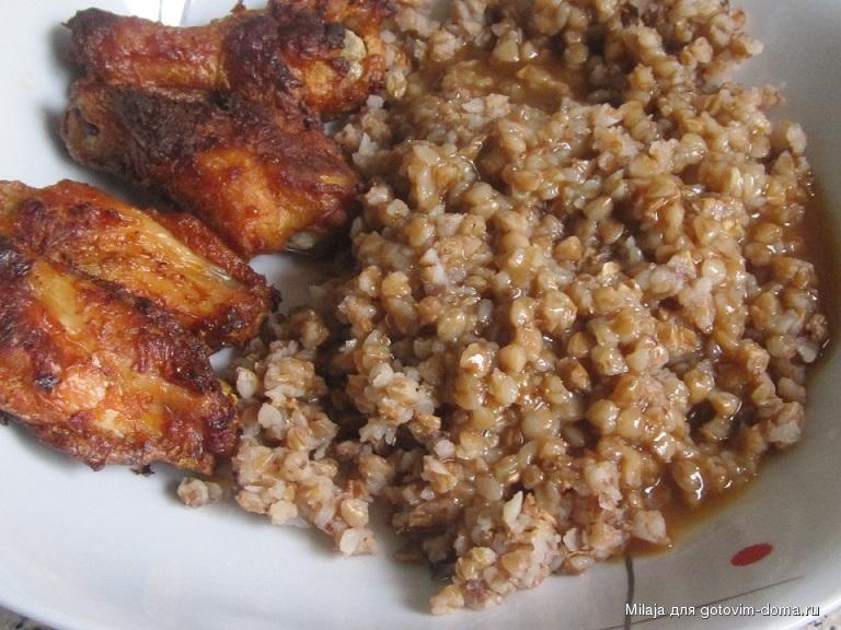 Крылышки в духовке с гречкой рецепт пошагово