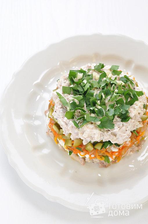 салат с курицей и маринованными грибами и маринованными огурцами рецепт с фото