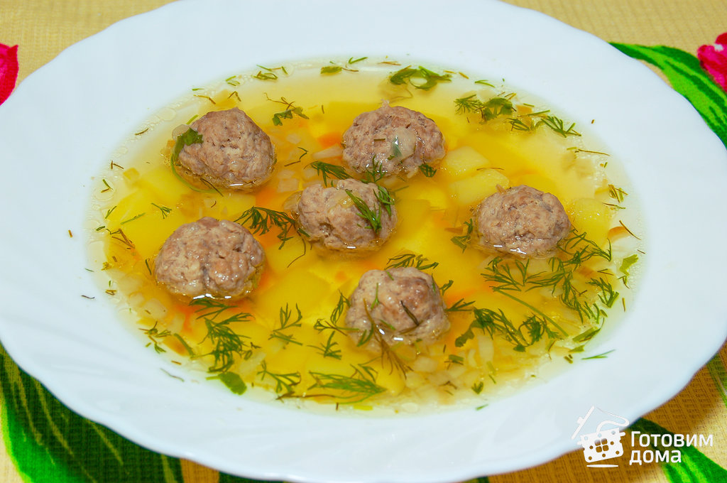 Суп с рожками и фрикадельками рецепт с фото