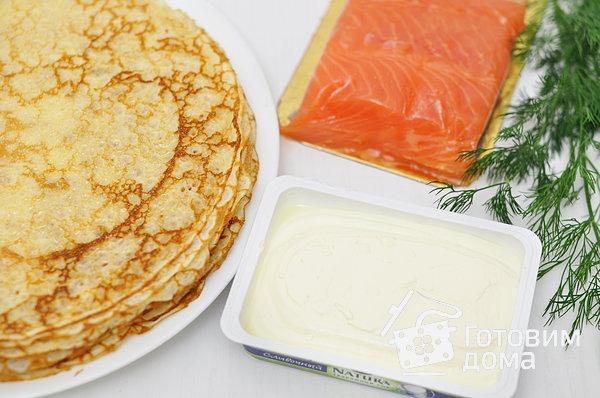Блинчики со сливочным сыром и семгой фото к рецепту 1