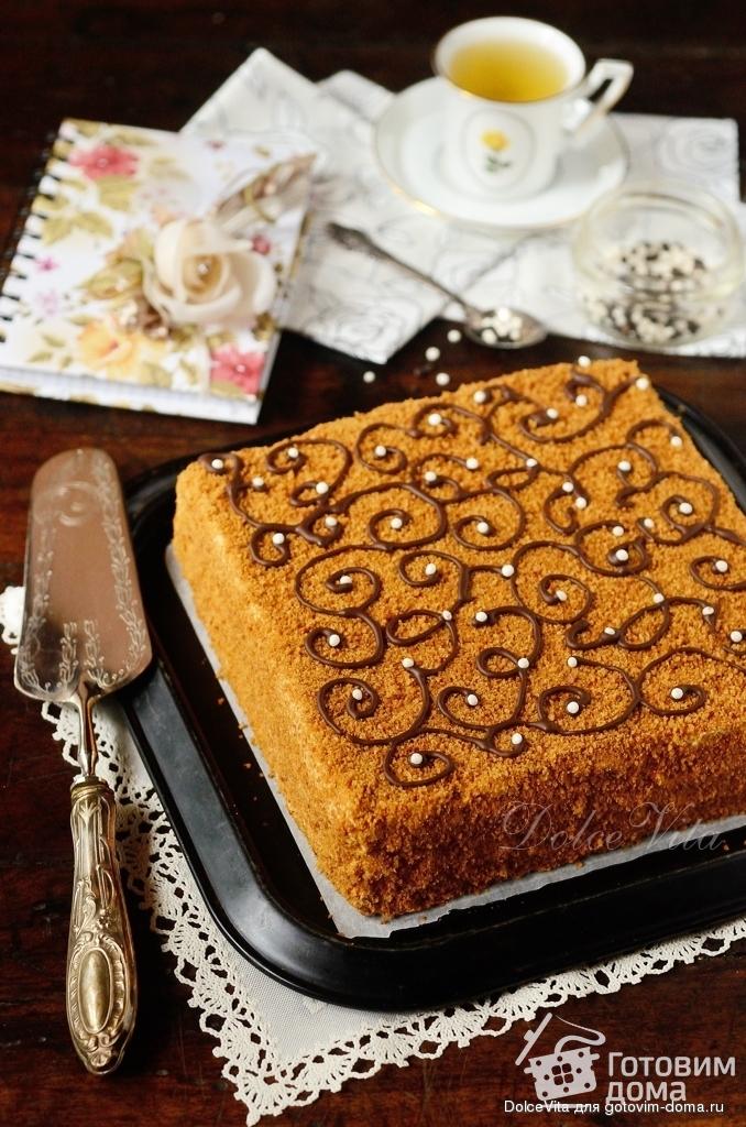 медовый тортс тонкими слоями рецепт с фото