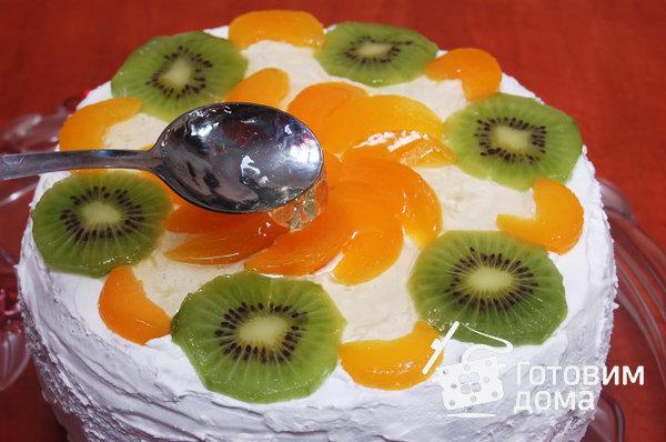 """Торт """"Очарование"""" (бисквит со взбитыми сливками и фруктами) фото к рецепту 16"""