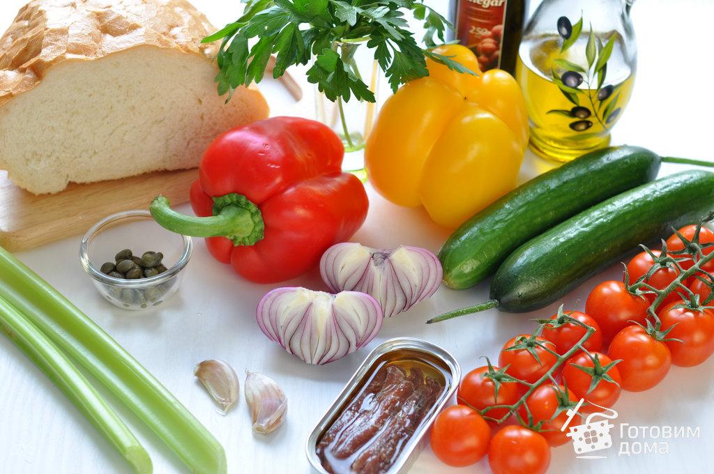"""Хлебный салат с помидорами """"Панцанелла"""" - пошаговый рецепт с фото на Готовим дома"""