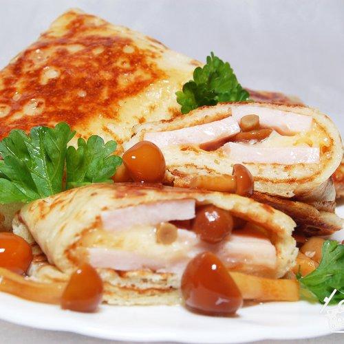 блины с грибами курицей и сыром рецепт с фото