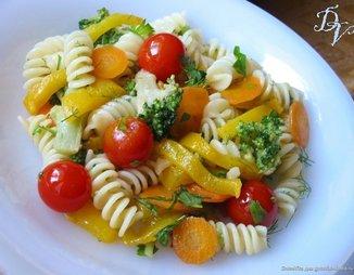 Теплый салат из утиной грудки с болгарским перцем и