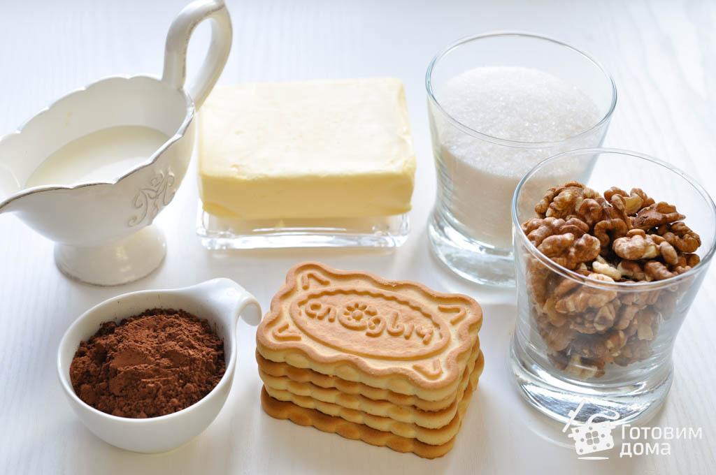Рецепт домашний сладкой колбаски из печенья и какао