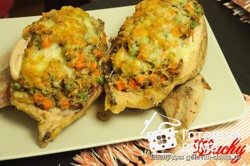 Фаршированная курица с овощами в духовке рецепт 3