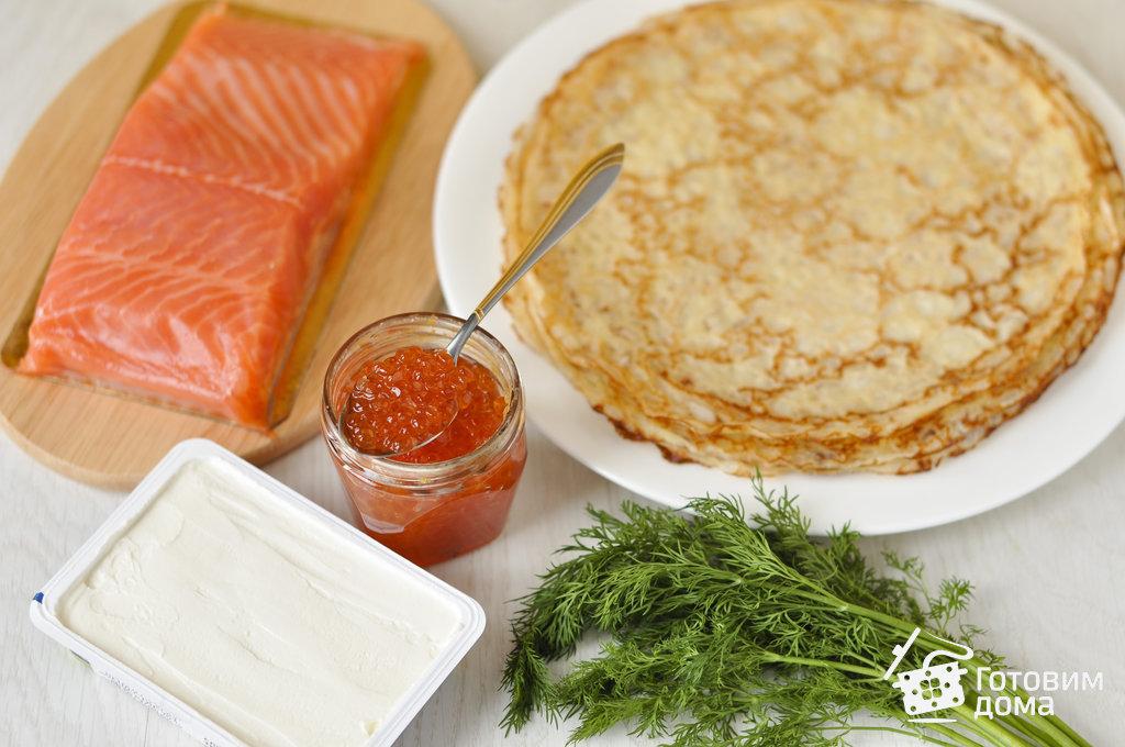 Блинный торт с красной рыбой и икрой рецепт с фото