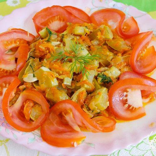 Тушеные кабачки с морковью и луком на сковороде рецепт пошагово