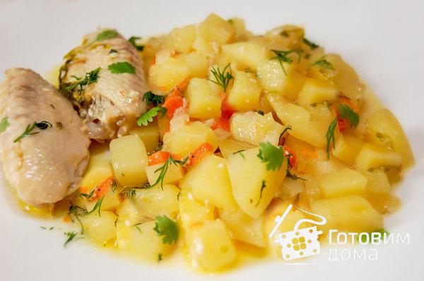 Картофель тушеный с курицей рецепт с фото пошагово
