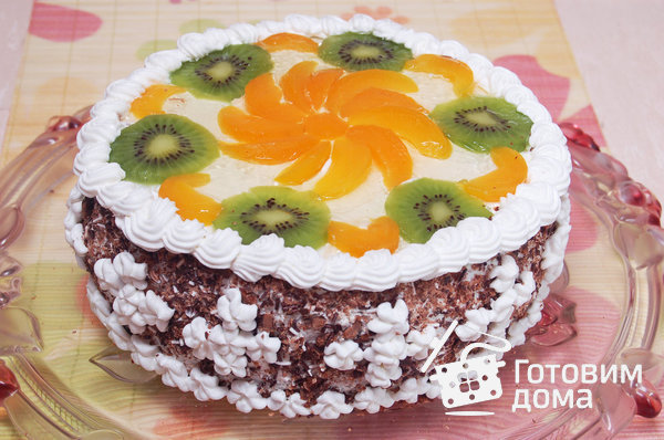 """Торт """"Очарование"""" (бисквит со взбитыми сливками и фруктами) фото к рецепту 17"""