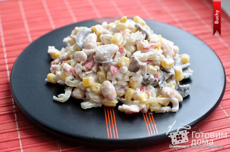 Салат с грибами и кукурузой и крабовые палочки — 2