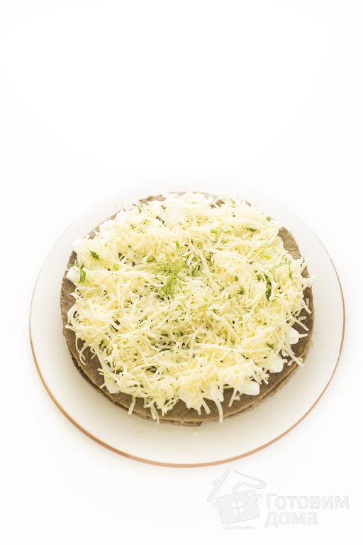 печеночный торт с шампиньонами рецепт с фото