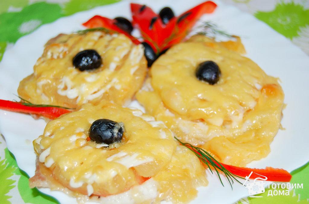 мясо с сыром и ананасом в духовке рецепт с фото