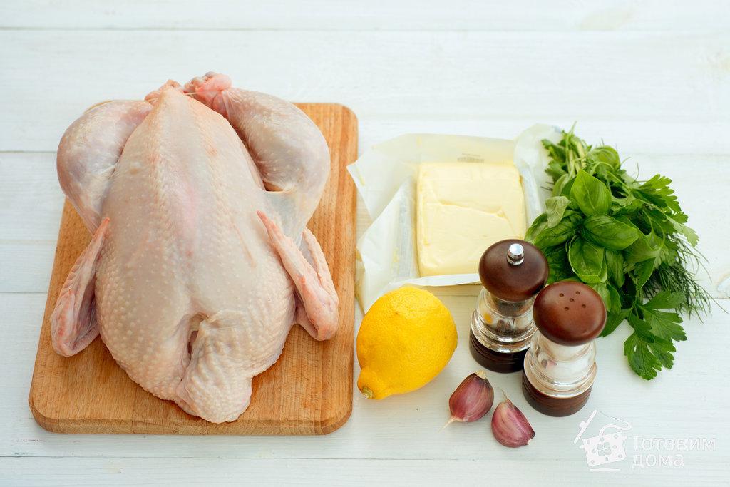 Курица, запеченная с ароматным сливочным маслом и чесноком - пошаговый рецепт с фото на Готовим дома