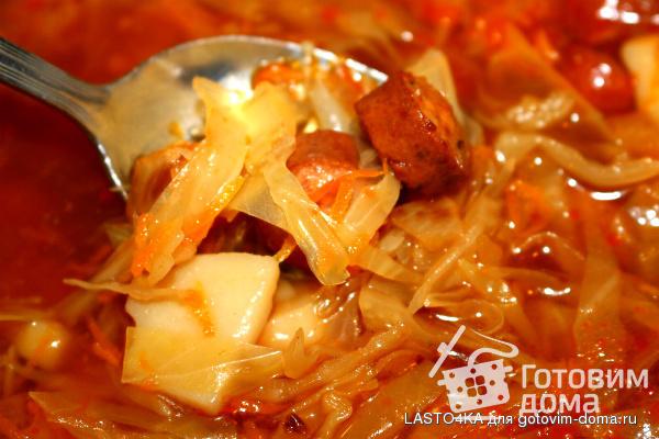рецепт томатный суп с сосиской