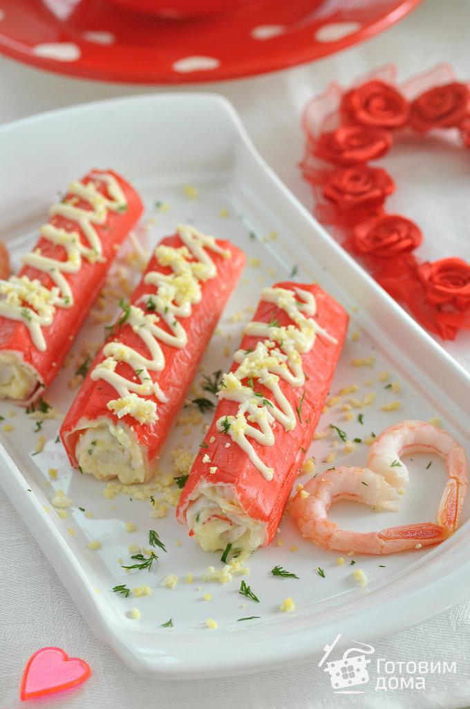 Крабовые палочки, фаршированные креветками - пошаговый ... легкий салат с курицей