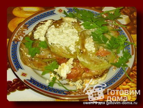 Кабачки жареные, с чесноком, помидорами и майонезом
