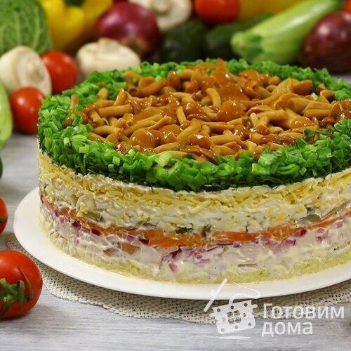 Салат Лесная Пол с маринованными опятами рецепт с фото