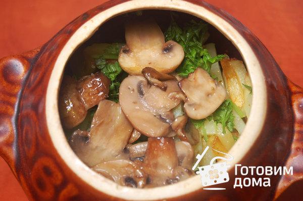 Мясо в горшочках с картошкой и грибами в духовке пошаговый рецепт с фото