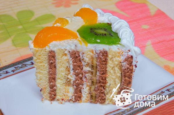 """Торт """"Очарование"""" (бисквит со взбитыми сливками и фруктами) фото к рецепту 18"""