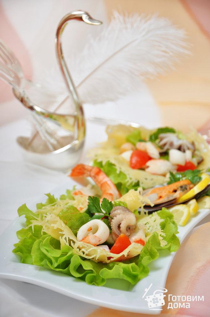 рецепт салата в сырных корзинках пошагово с фото