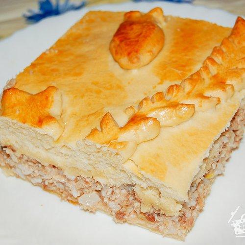 Закрытый пирог с мясом и рисом рецепт