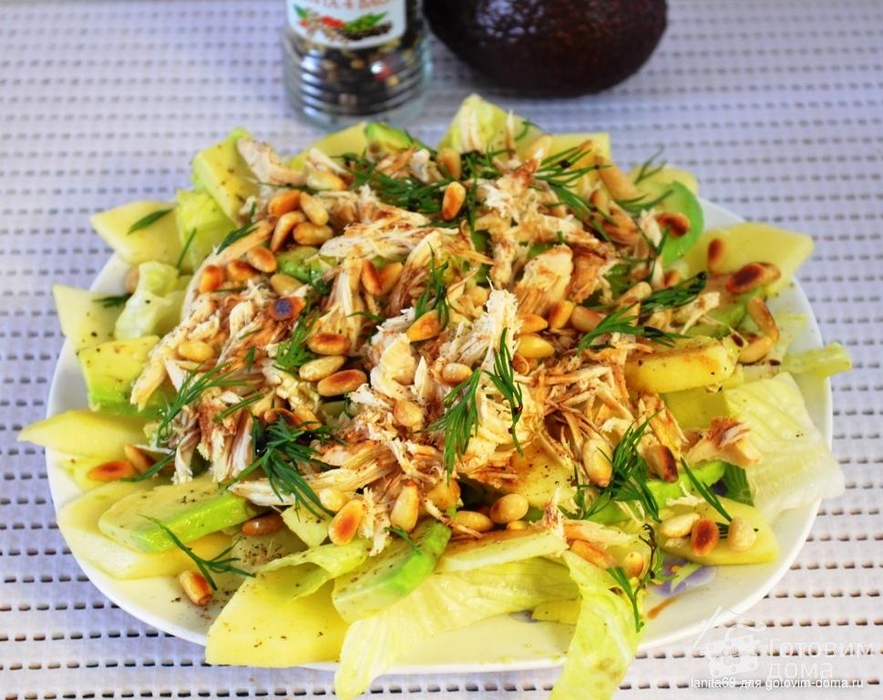 вкусный салат с курицей и креветками рецепт с фото
