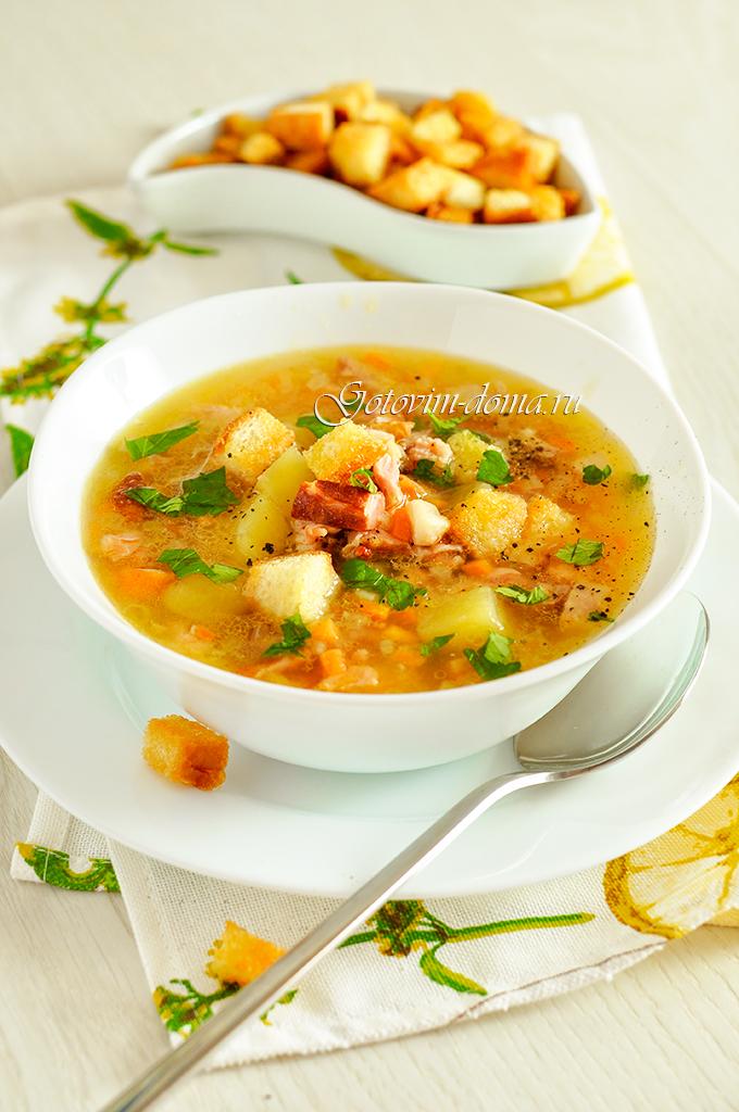 суп с гороха с ребрышками копчен