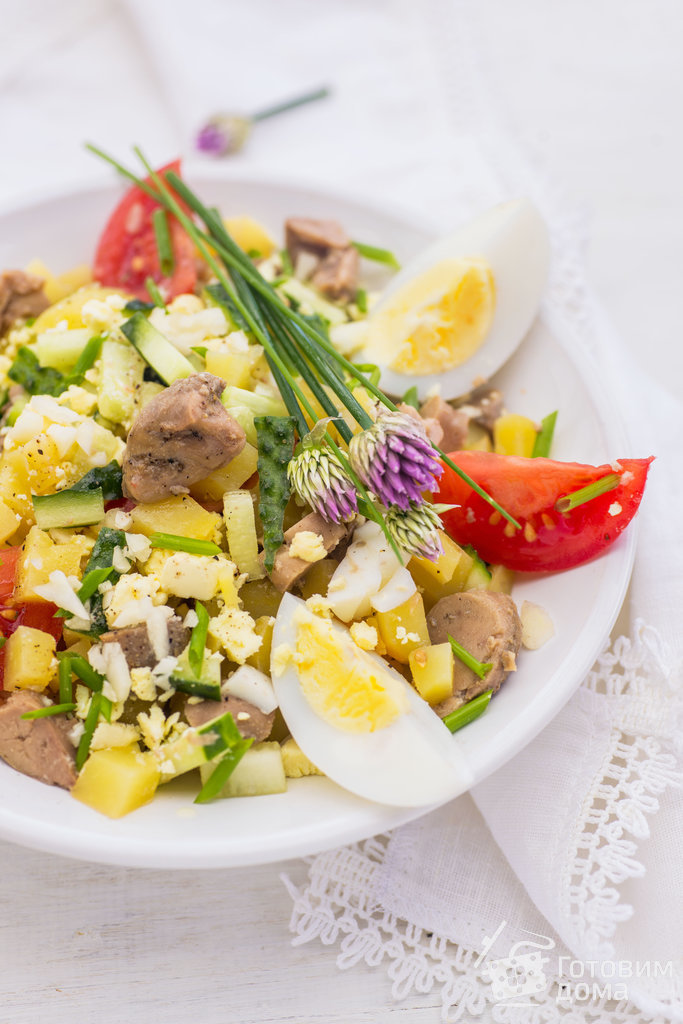 Салат из печени трески яйца кукуруза картофель