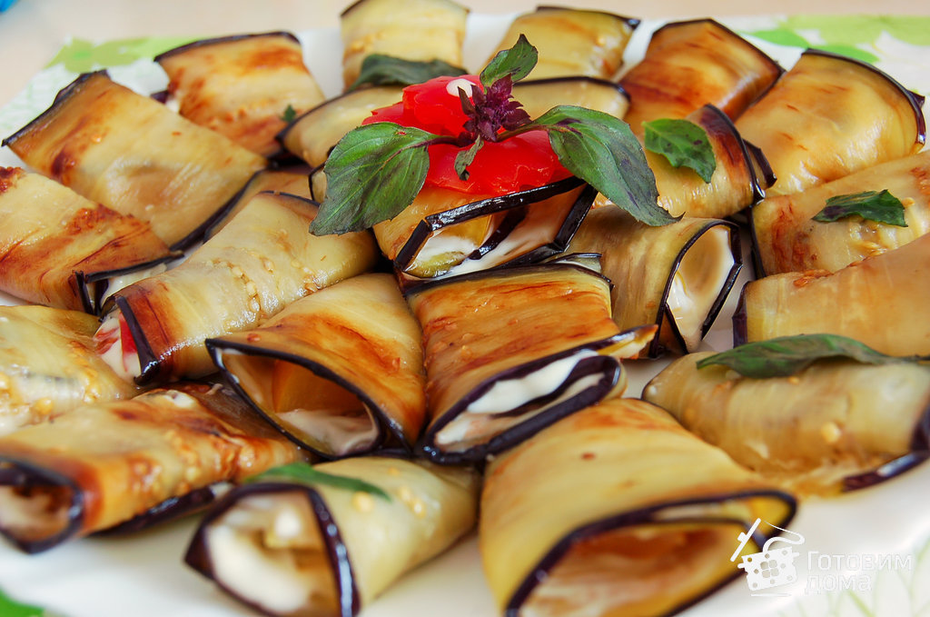 Рулеты из баклажан чеснока