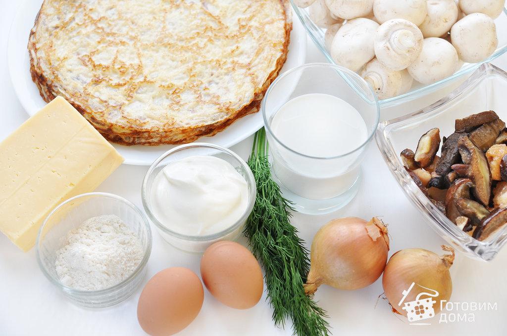 Блинная улитка с грибным жюльеном - пошаговый рецепт с фото на Готовим дома