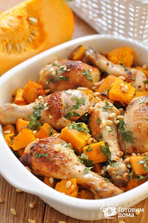 Тыква с курицей в духовке рецепт в горшочках