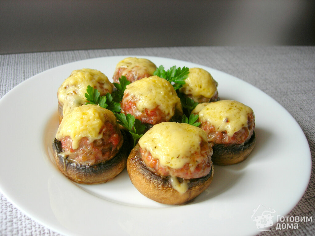 фаршированные грибы шампиньоны в духовке рецепт